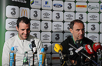24th May 2014;  Republic of Ireland Captain John O'Shea and manager Martin O'Neill during a press conference ahead of their 3 International Friendly against Turkey on Sunday. Republic of Ireland Press Conference, Airside Ford, Swords, Co. Dublin. Picture credit: Tommy Grealy/actionshots.ie.