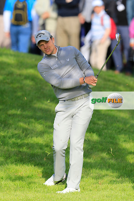 Danny Willett (ENG) plays his 2nd shot from the rough on the 17th hole during Thursday's Round 1 of the 2016 Dubai Duty Free Irish Open hosted by Rory Foundation held at the K Club, Straffan, Co.Kildare, Ireland. 19th May 2016.<br /> Picture: Eoin Clarke | Golffile<br /> <br /> <br /> All photos usage must carry mandatory copyright credit (&copy; Golffile | Eoin Clarke)