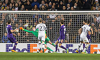 Erik Lamela (right) of Tottenham Hotspur scores the second goal of the match 2 0 during the UEFA Europa League 2nd leg match between Tottenham Hotspur and Fiorentina at White Hart Lane, London, England on 25 February 2016. Photo by Andy Rowland / Prime Media images.
