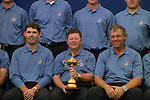 European Team Photo for the 2006 Ryder Cup at The K Club featuring Team Captain Ian Woosnam, holding the Ryder Cup, with Padraig Harrington and Darren Clarke..Photo: Eoin Clarke/Newsfile.