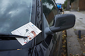 Flyer for a domestic cleaning agency on a car windscreen, Camden, London.
