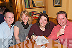 STINGING QUIZ: Kingdom Bee Keepers Association held a charity quiz on Friday night in Stokers Lodge to raise funds for a special learning centre on the Island of Rodrigues in the Indian Ocean. Taking part were l-r: Pat Ferriter (Castlegregory), Heather Groves (Tralee), Juilia Galvin (Listowel) and Finbarr Griffin (Tralee).    Copyright Kerry's Eye 2008