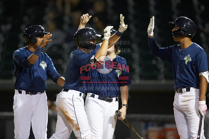 Brian Sharp (7) of the Columbia Fireflies is congratulated by teammates Wagner Lagrange (left) and Mark Vientos (right) after hitting a 3-run home run against the Rome Braves at Segra Park on May 13, 2019 in Columbia, South Carolina. The Fireflies defeated the Braves 6-1 in game two of a doubleheader. (Brian Westerholt/Four Seam Images)