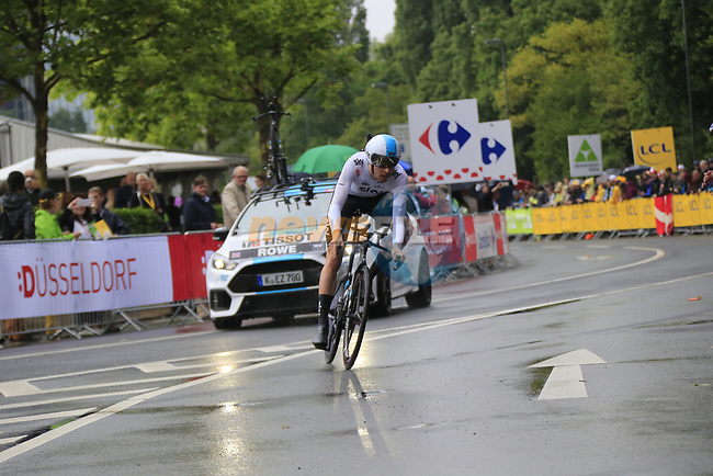 Luke Rowe (WAL) Team Sky in action during Stage 1, a 14km individual time trial around Dusseldorf, of the 104th edition of the Tour de France 2017, Dusseldorf, Germany. 1st July 2017.<br /> Picture: Eoin Clarke | Cyclefile<br /> <br /> <br /> All photos usage must carry mandatory copyright credit (&copy; Cyclefile | Eoin Clarke)