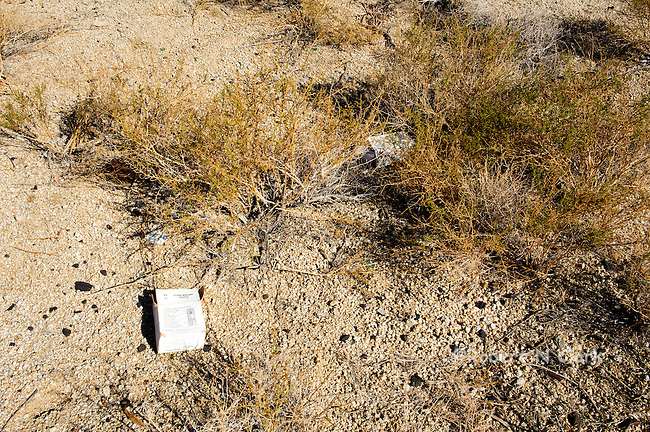 Trash in the Mojave Desert of California left behind by target shooters