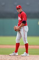 Endy Sanchez (16) of Suffield Academy in Holyoke, Massachusetts playing for the Philadelphia Phillies scout team during the East Coast Pro Showcase on August 2, 2014 at NBT Bank Stadium in Syracuse, New York.  (Mike Janes/Four Seam Images)