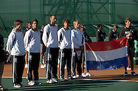 08-07-11, Tennis, South-Afrika, Potchefstroom, Daviscup South-Afrika vs Netherlands, Team presentatie, v.l.n.r.: Igor Sijsling, Jesse Huta Galung,Thomas Schoorel, Robin Haase en Captain Jan Siemerink