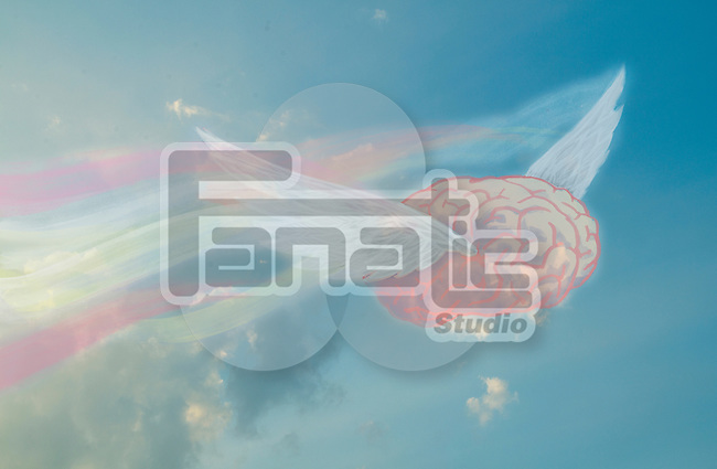 Illustrative image of flying brain representing freedom of thinking