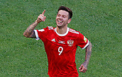17th June 2017, St Petersburg, Russia;  FIFA 2017 Confederations Cup football, Russia versus New Zealand;  Group A - Saint Petersburg Stadium,  Russia's Fedor Smolov celebrates scoring their second goal
