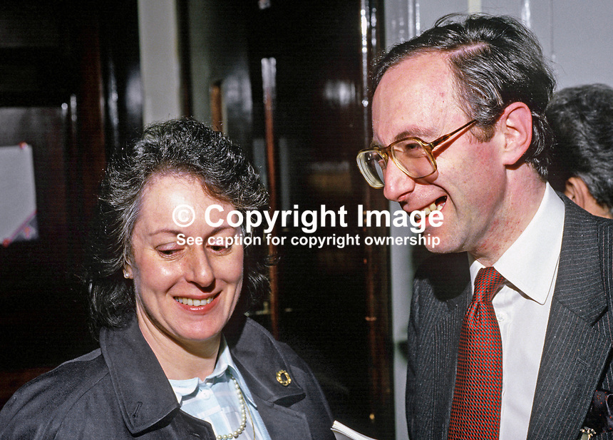 Malcolm Rifkind, MP, UK, Secretary of State, Scotland, and wife, Edith Rifkind, at annual conference, Conservative Party. 19870507MR+ER.<br />