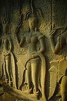 Detail of a bas-relief panel depicting palace ladies in procession, west section of the South Gallery at Angkor Wat, Siem Reap province, Cambodia.