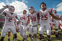 Hawgs Illustrated/BEN GOFF <br /> Kamren Curl (from left), Arkansas defensive back, Tyler Phillips, Arkansas linebacker, Reid Miller, Arkansas special teams, and Micahh Smith, Arkansas defensive back, join in the celebration after defeating Ole Miss Saturday, Oct. 28, 2017, at Vaught-Hemingway Stadium in Oxford, Miss.