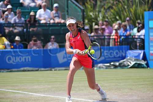 June 17th 2017, Nottingham, England;WTA Aegon Nottingham Open Tennis Tournament day 6;  Backhand from Johanna Konta of Great Britain who wins the first set against Magdalena Rybarikova of The Slovak Republic in the semi final