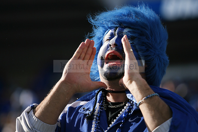 UK fan boos after a call during the second half of the University of Kentucky vs. Missouri University football game at Commonwealth Stadium in Lexington, Ky., on Saturday, November 9, 2013. Missouri defeated Kentucky 48-17. Photo by Michael Reaves | Staff