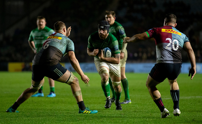 Newcastle Falcons' Gary Graham in action during todays match<br /> <br /> Photographer Bob Bradford/CameraSport<br /> <br /> Gallagher Premiership Round 7 - Harlequins v Newcastle Falcons - Friday 16th November 2018 - Twickenham Stoop - London<br /> <br /> World Copyright © 2018 CameraSport. All rights reserved. 43 Linden Ave. Countesthorpe. Leicester. England. LE8 5PG - Tel: +44 (0) 116 277 4147 - admin@camerasport.com - www.camerasport.com