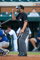 Umpire Joe George during a Gulf Coast League game between the GCL Tigers and GCL Blue Jays at Joker Marchant Stadium on July 16, 2012 in Lakeland, Florida.  GCL Blue Jays defeated the GCL Tigers 4-3.  (Mike Janes/Four Seam Images)