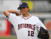 25 June 2007: Clint Everts of the Potomac Nationals, Class A affiliate of the Washington Nationals, vs. the Frederick Keys, a Baltimore Orioles affiliate, at Pfitzner Stadium, Woodbridge, Va.  Photo by:  Tom Priddy/Four Seam Images