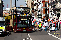 London, 08/05/2016. Today, &quot;Campaign Against Climate Change&quot; held a demonstration to protest against the policies of the British Conservative Government in tackling climate change and to accuse it of not supporting enough clean energy technology. Then protesters, activist and members of the public marched backward from Trafalgar Square to the Department of Energy and Climate Change, Downing Street, Department of Health (Opposite the Treasury). From the organisers Facebook page: &lt;&lt;No more UK backtracking on climate! Since May 2015 clean energy technology has been sidelined in favour of a dash for gas, insulation cut and fracking, roads and runways pushed through despite strong local opposition. So what better way to mark the government's one year anniversary than to march - backwards - down Whitehall? A creative and colourful protest that will make a serious point: we're running out of time to act on climate change, and we can't afford to go backwards. [&hellip;]&gt;&gt;. The demonstration was supported by: Art Not Oil, Biofuelwatch, Campaign for Better Transport, Client Earth, Climate Revolution, Fuel Poverty Action Group, Global Justice Now, Greenpeace, HACAN, Plane Stupid, Reclaim the Power, Solar Trade Association, Talk Fracking, Time to Cycle, War on Want, The Truth about Zane.<br />