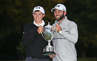 Matthew Fitzpatrick (ENG) with caddie Tom Ridley with the trophy after winning the Final Round of the British Masters 2015 supported by SkySports played on the Marquess Course at Woburn Golf Club, Little Brickhill, Milton Keynes, England.  11/10/2015. Picture: Golffile | David Lloyd<br /> <br /> All photos usage must carry mandatory copyright credit (&copy; Golffile | David Lloyd)
