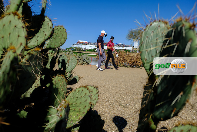 Adam Long (USA)and Adam Hadwin (CAN) on the 15th during the 2nd round of the Waste Management Phoenix Open, TPC Scottsdale, Scottsdale, Arisona, USA. 01/02/2019.<br /> Picture Fran Caffrey / Golffile.ie<br /> <br /> All photo usage must carry mandatory copyright credit (&copy; Golffile | Fran Caffrey)