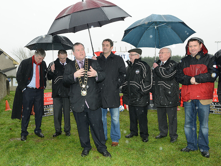 Mayor of Drogheda Paul Bell speaking at the turning of the sod for Drogheda Town's new clubrooms. Photo:Colin Bell/pressphotos.ie