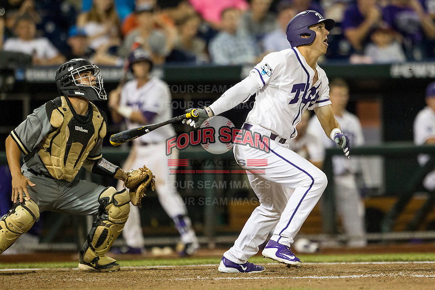 TCU Horned Frogs third baseman Derek Odell (5) follows through on his swing during the NCAA College baseball World Series against the Vanderbilt Commodores on June 16, 2015 at TD Ameritrade Park in Omaha, Nebraska. Vanderbilt defeated TCU 1-0. (Andrew Woolley/Four Seam Images)