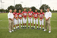 7 August 2006: Position Photos during Stanford Football's Picture Day at the Stanford practice field in Stanford, CA. (L-R): Jeff Hammerschmidt, Aaron Zagory, Leon Peralto, Zach Nolan, Brent Newhouse, Derek Belch, Jay Ottovegio, Matt Weiss.