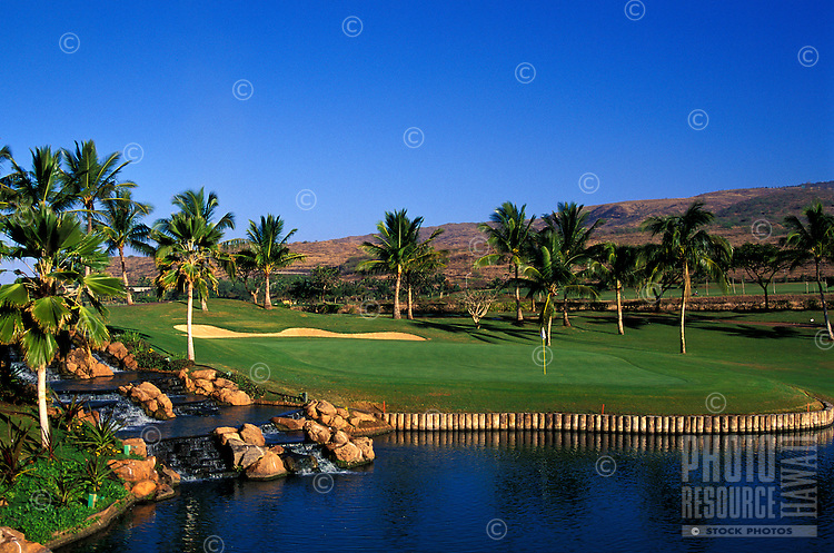 Hole number 18 of the Ko Olina golf course designed by Ted Robinson in 1990