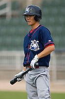 Troy Hanzawa #2 of the Lakewood BlueClaws during batting practice at Fieldcrest Cannon Stadium July 10, 2009 in Kannapolis, North Carolina. (Photo by Brian Westerholt / Four Seam Images)