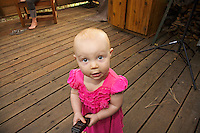 Evelyn Teel, a few days after her 1st birthday, on the front deck of her Tahquitz View house.