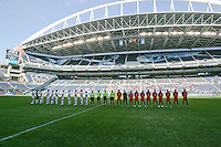 Haiti and Honduras line up for their National Anthems. Honduras defeated Haiti 1-0 during the First Round of the 2009 CONCACAF Gold Cup at Qwest Field in Seattle, Washington on July 4, 2009.