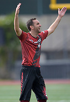 May 24, 2015; Los Angeles, CA, USA; Los Angeles Aviators cutter Mark Elbogen (10) celebrates after the game against the San Francisco Flamethrowers in an American Ultimate Disc League (AUDL) match at Occidental College. The Aviators defeated the Flamethrowers 23-22. <br /> <br /> Photo by Kirby Lee