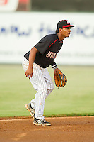 Kannapolis Intimidators shortstop Cleuluis Rondon (13) on defense against the Savannah Sand Gnats at CMC-Northeast Stadium on August 22, 2013 in Kannapolis, North Carolina.  The Intimidators defeated the Sand Gnats 1-0.  (Brian Westerholt/Four Seam Images)