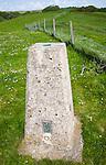 Concrete triangulation pillar on chalk hilltop Giant's Grave, near Oare, Wiltshire, England, UK