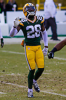 Green Bay Packers cornerback Josh Hawkins (28) prior to a game against the New York Giants on January 8th, 2017 at Lambeau Field in Green Bay, Wisconsin.  Green Bay defeated New York 38-13. (Brad Krause/Krause Sports Photography)