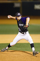 High Point Panthers relief pitcher Bailey Brown (23) in action against the Wake Forest Demon Deacons at Wake Forest Baseball Park on April 2, 2014 in Winston-Salem, North Carolina.  The Demon Deacons defeated the Panthers 10-6.  (Brian Westerholt/Four Seam Images)