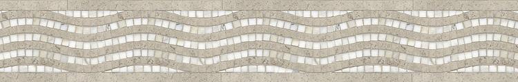 "6 1/2"" River Run border, a hand-cut stone mosaic, shown in honed Gascogne Blue and polished Calacatta Tia."