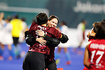 (L to R) <br />  Akio Tanaka, <br /> Megumi Kageyama (JPN), <br /> AUGUST 31, 2018 - Hockey : <br /> Women's Final match <br /> between Japan 2-1 India  <br /> at Gelora Bung Karno Hockey Field <br /> during the 2018 Jakarta Palembang Asian Games <br /> in Jakarta, Indonesia. <br /> (Photo by Naoki Morita/AFLO SPORT)
