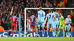 Referee Pavel Kralovec hands out a red card on Mehdi Benatia of Bayern Munich - UEFA Champions League group E - Manchester City vs Bayern Munich - Etihad Stadium - Manchester - England - 25rd November 2014  - Picture Simon Bellis/Sportimage