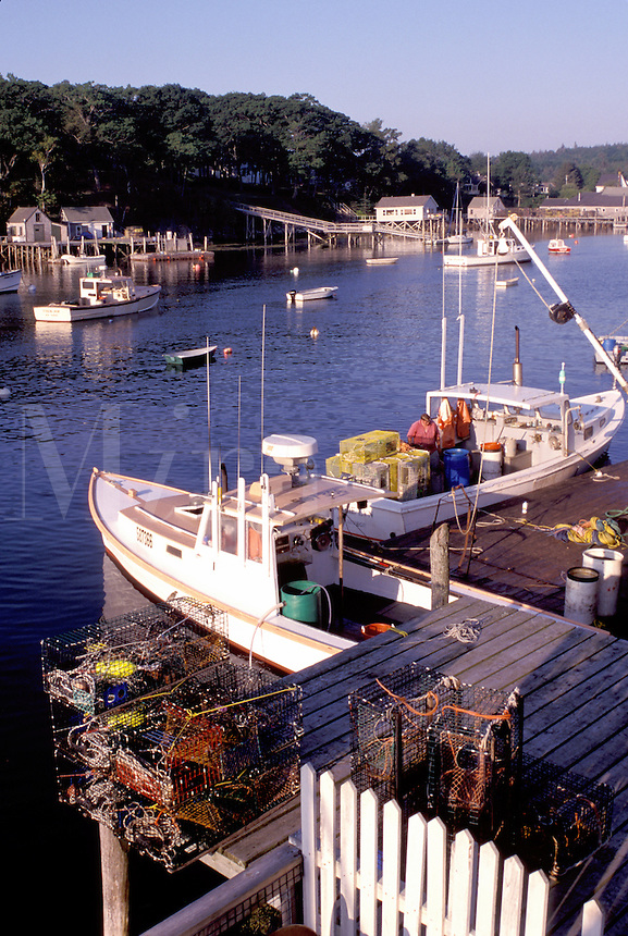 fishing boats, New Harbor, Maine, ME, Pemaquid, Fishing boats, fishermen, dock, lobster traps in the harbor.