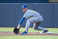 San Jose State Spartans first baseman Alex Davis (6) stretches for a throw against the Michigan Wolverines on March 27, 2019 in Game 2 of the NCAA baseball doubleheader at Ray Fisher Stadium in Ann Arbor, Michigan. Michigan defeated San Jose State 3-0. (Andrew Woolley/Four Seam Images)