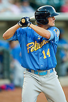 Trever Adams (14) of the Myrtle Beach Pelicans at bat against the Winston-Salem Dash at BB&T Ballpark on May 15, 2013 in Winston-Salem, North Carolina.  The Pelicans defeated the Dash 9-2.  (Brian Westerholt/Four Seam Images)