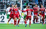 Stockholm 2014-05-04 Fotboll Superettan Hammarby IF - IFK V&auml;rnamo :  <br /> V&auml;rnamos Martin Claesson har kvitterat till 1-1 och jublar med V&auml;rnamos Tobias Englund och V&auml;rnamos Dzenis Kozica <br /> (Foto: Kenta J&ouml;nsson) Nyckelord:  Superettan Tele2 Arena Hammarby HIF Bajen V&auml;rnamo jubel gl&auml;dje lycka glad happy
