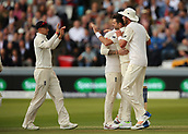 7th September 2017, Lords Cricket Ground, London, England; International Test Match Series, Third Test, Day 1; England versus West Indies; England Bowler James Anderson celebrates taking the wicket of West Indies batsman Kraigg Brathwaite with Ben Stokes, Stuart Broad and Captain Joe Root