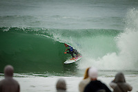 LA GRAVIERE, Hossegor/France (Friday, September 28, 2012) Kolohe Andino (USA). - The opening nine Round 1 heats of the Quiksilver Pro France were completed today in clean three-to-five (1 - 1.5 metre) waves at the primary site of La Graviere...Event No. 7 of 10 on the 2012 ASP World Championship Tour season, the Quiksilver Pro France took advantage of solid barrels on offer this morning before calling competition off this afternoon as the swell subsided..Mick Fanning (AUS), 31, two-time ASP World Champion (2007, 2009) and current ASP WCT No. 1, took down an in-form Wiggolly Dantas (BRA), 22, and Travis Logie (ZAF), 33, in their Round 1 match-up, utilising his extensive tibe-riding abilities.. Photo: joliphotos.com