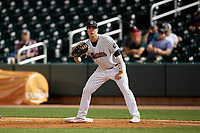 Birmingham Barons first baseman Gavin Sheets (24) during a Southern League game against the Chattanooga Lookouts on May 1, 2019 at Regions Field in Birmingham, Alabama.  Chattanooga defeated Birmingham 5-0.  (Mike Janes/Four Seam Images)