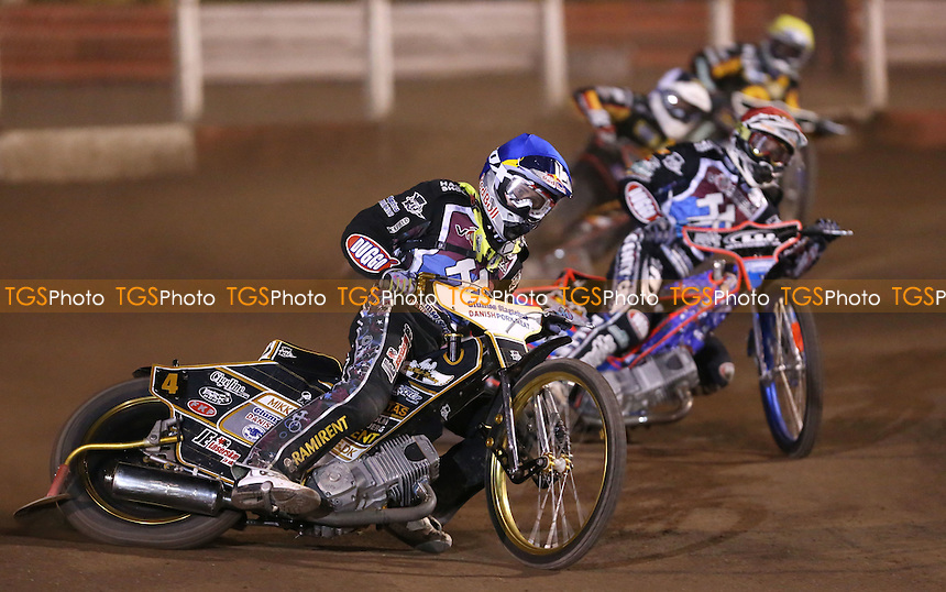 Heat 8: Mikkel Bech (blue), Davey Watt (red), Adam Skornicki (black & white) and Danny King (yellow) - Lakeside Hammers vs Birmingham Brummies, Elite League Speedway at the Arena Essex Raceway, Pufleet - 11/04/14 - MANDATORY CREDIT: Rob Newell/TGSPHOTO - Self billing applies where appropriate - 0845 094 6026 - contact@tgsphoto.co.uk - NO UNPAID USE