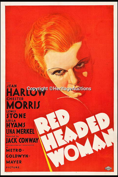 BNPS.co.uk (01202 558833)<br /> Pic: HeritageAuctions/BNPS<br /> <br /> Red Headed Woman (MGM, 1932) estimate $60,000.<br /> <br /> A lucky family is set to make a staggering &pound;160,000 after a hoard of old film posters they stumbled upon under the floor of their new home turned out to be 'lost' Hollywood relics.<br /> <br /> The prized stash of 17 perfectly preserved posters was discovered by Bob and Dylan Basta as they tore up the lino in the house their dad Robert was renovating. <br /> <br /> After calling in experts from leading auctioneers Heritage they found that among their treasure trove were five never-seen-before posters from the Golden Age of Hollywood.<br /> <br /> The collection is now tipped to fetch a whopping $240,000 - around &pound;160,000 - at Heritage Auctions in Dallas, Texas.