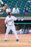 J.C. Boscan (15) of the Chattanooga Lookouts at bat against the Montgomery Biscuits at AT&T Field on July 23, 2014 in Chattanooga, Tennessee.  The Lookouts defeated the Biscuits 6-5. (Brian Westerholt/Four Seam Images)