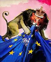 British lion tearing European Union flag